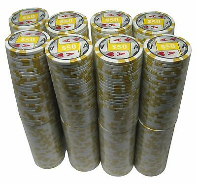 (400) Four Aces $50 Clay Composite Poker Chips 11.5 g FREE SHIPPING