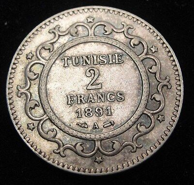 1891 Tunisia 2 Francs Silver Coin Looks XF+ Km #225