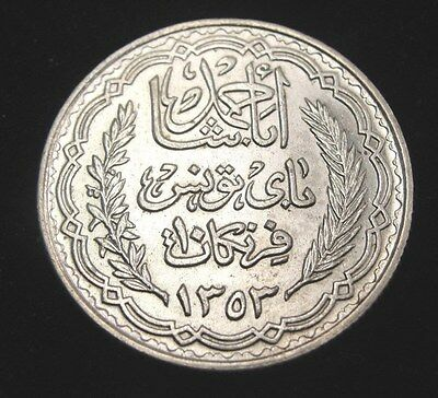 1353 Tunisia 10 Francs Silver Coin Looks XF+ Km #262