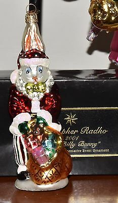 Christopher Radko Blown Glass Santa Suits Billy Bunny Christmas Ornament Signed