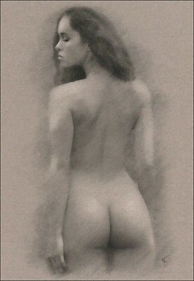 Female nude back view ORIGINAL DRAWING Charcoal ART signed by artist No Reserve