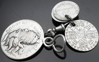 Antique Silver Pierced Coins On Clasp - Incl George Iii 1787 Sixpence