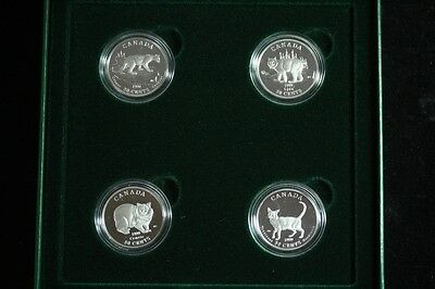 1999 Cats Of Canada Frosted Proof 4-Coin 50-Cent Set Issued By The Royal Canadia
