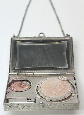 Vintage Makeup Compact Purse Case w/Chain Lipstick Mirror, used