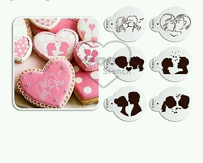 6 Pcs Kissing Couple Cookie Cupcake Coffee Stencil Wedding Engagement Valentine