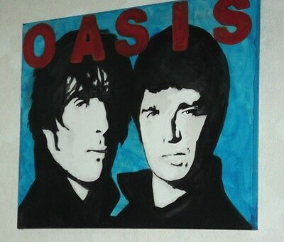 OASIS, GALLAGHER, BRIT POP,,.HAND PAINTED canvas 20 X 16  INS..READY TO HANG