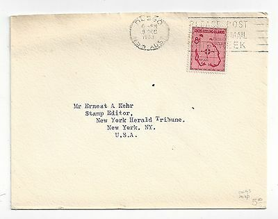Cocos Islands 1963 Cover to US, 8d Map Solo