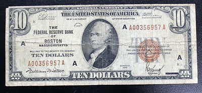 $10 1929 BOSTON MA  National BANK NOTE $10  Federal Reserve Bank BROWN SEAL FINE