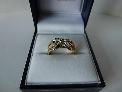 NEW, 9carat 9ct Yellow & White Gold Celtic Ring, size L 1/2