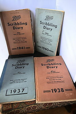 Set Of 4 Boots Scribbling Diary Books / Scrap Book Cuttings From 1920's 30's 40'