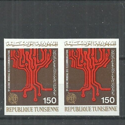 1977- Tunisia-Imperforated pair- 9th World Telecommunications Day