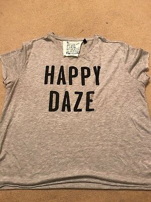 Top Shop Women's Ladies Grey Happy Daze Tee T Shirt Size 12 Topshop