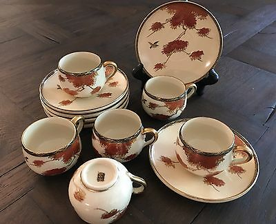 Antique Meiji Japanese Nippon Satsuma Demitasse Tea Cup Saucer Sets (6) Maples