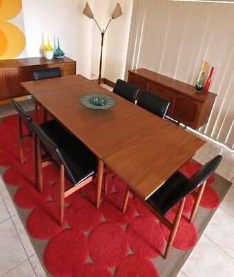 Authentic Parker 1960's Dining Suite, Teak Extendable Table with 6 Black Chairs