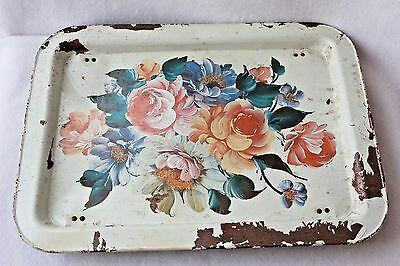Vintage White Metal Folding Serving Lap TV Bed Tray Toleware Floral Roses Shabby