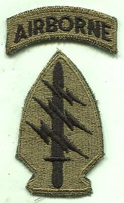 Early Vietnam Special Forces W/Airborne Tab OD Subdued Green Patch Cut Edge