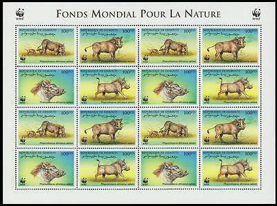 Djibouti WWF Eritrean Warthog Sheetlet of 4 sets SG#1192/95 SC#795 a-d MI#678-81