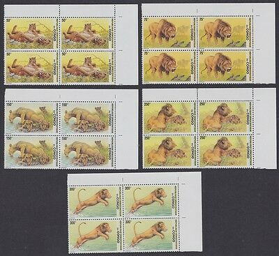 DR Congo Lions 5v Top Right Corner Blocks of 4 with Margins SC#1621-25