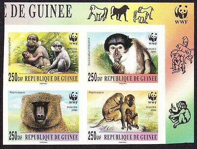 Guinea WWF Mangabey & Baboon 4 imperf stamps in block 2*2