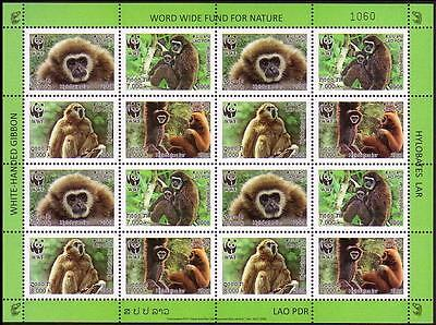 Laos WWF White-handed Gibbon Sheetlet of 4 sets SG#2021/24 SC#1738a-d MI#2062-65
