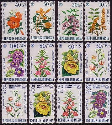 Indonesia Flowers Complete 3 issues 1965/66 SG#1064/67+1108/16