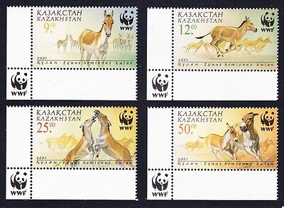 Kazakhstan WWF Kulan 4v with Bottom Left WWF Logo SG#332/35 SC#344-47 MI#345-48