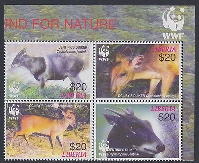 Liberia WWF Duikers Right block 2*2 with WWF Logo SC#2370 a-d MI#5100-03