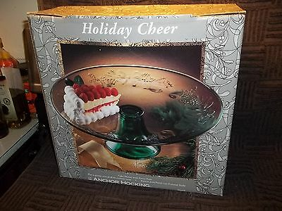 Vintage Anchor Hocking Holiday Cheer Cake Plate Forest Green Stand