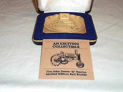 """John Deere """"A"""" Tractor Gold Plated Belt Buckle - Limited Edition"""