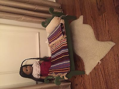 American Girl Josefina bed with mattress, quilt, rug and head roll
