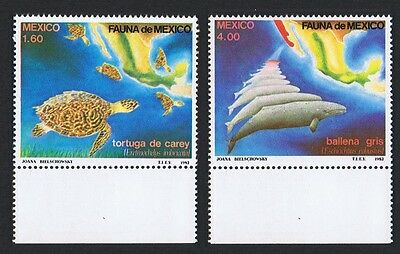 Mexico Whales Turtles Mexican Fauna 2v with Bottom Margins SG#1638/39 SC#1281-82