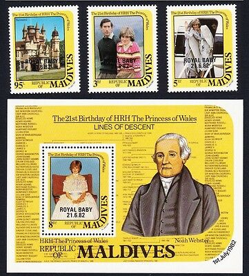 Maldives Royal Baby Overprint 3v+MS SG#978/MS981 SC#966-69