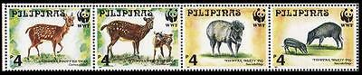 Philippines WWF Spotted Deer & Warty Pig Strip of 4v SG#2992/95 SC#2476-79