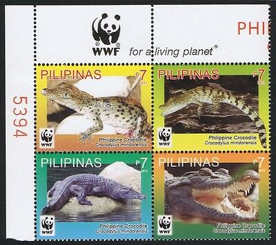 Philippines WWF Philippine Crocodile 4v Corner block with WWF Logo MI#4500-03