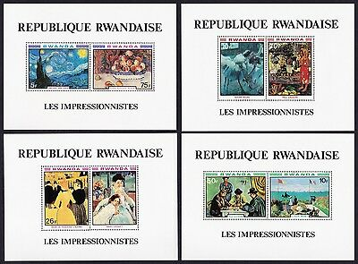 Rwanda Impressionists Paintings 4 MSs SG#MS1005 SC#986a-989a