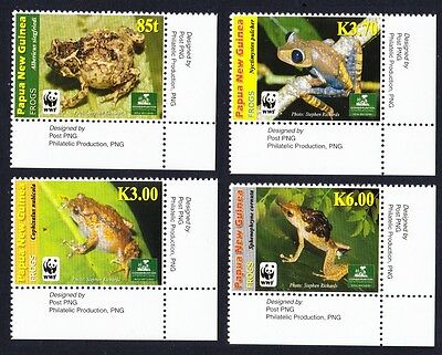 Papua NG WWF Frogs 4v Bottom Right Corners with Margins SG#1298/301 MI#1391-94