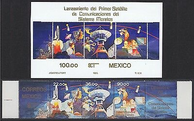 Mexico First Mexican Satellite strip with margins+MS SG#1743/MS1746