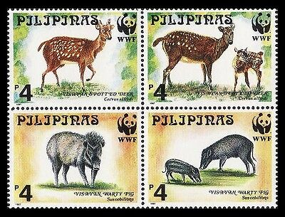 Philippines WWF Spotted Deer & Warty Pig 4v in block 2*2 SG#2992/95 SC#2476-79