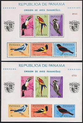 Panama Birds 2 Mss Perf and Imperf SC#C338a MI#Block 42 A-B
