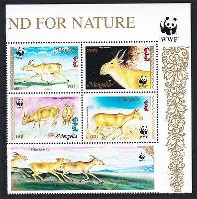Mongolia WWF Saiga Top Right Block of 4 with WWF Logo and label SG#2497/500