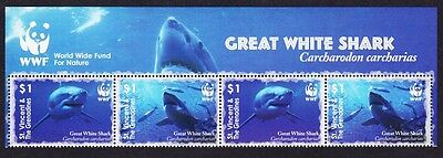 St. Vincent Grenadines WWF Great White Shark 4v Top Strip with WWF Logo