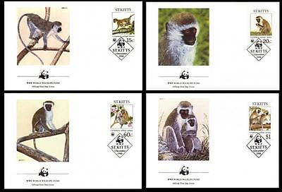 St. Kitts WWF Green Monkey 4 official FDCs