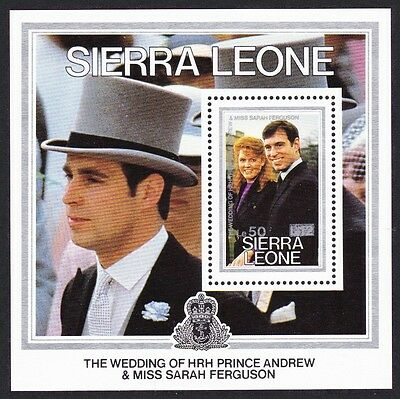 Sierra Leone Royal Wedding Prince Andrew MS Overprint SG#MS973