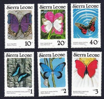 Sierra Leone Butterflies 6v with imprint date '1989 perf 14 SG#1028B/1033B