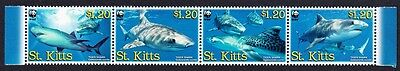 St. Kitts WWF Tiger Shark Strip of 4v SG#897/900 SC#678a-d MI#955-58