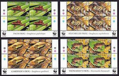 Seychelles WWF Frogs 4v Blocks with Latin and English Name SG#917/20 SC#831-34