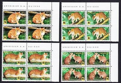 Senegal WWF African Golden Cat 4 Top Right Corner Blocks of 4 with margins