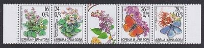 Serbia and Montenegro Butterflies Moths Flowers strip of 4v and label SG#64/67
