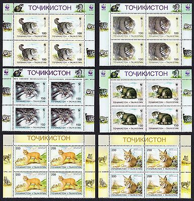 Tajikistan WWF Pallas's Cat 6v Top Blocks of 4 SG#90/95 SC#92-97 MI#94-99 CV£60+