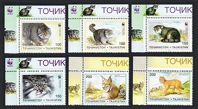 Tajikistan WWF Pallas's Cat 6v Top Left Corners SG#90/95 SC#92-97 MI#94-99